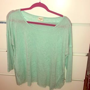 Sweaters - Light blue shirt with cropped sleeves